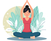 women meditates with her arms in the air in front of green leaves