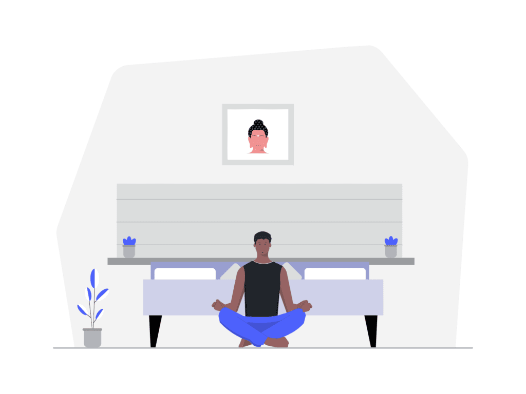 A man practices body scan meditation for sleep